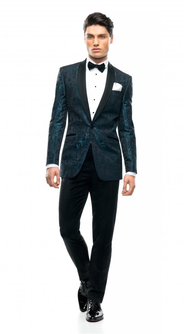 Filip Cezar Aqua Roses Suit