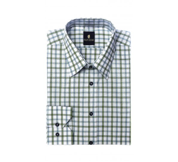 Filip Cezar Green Squares Shirt