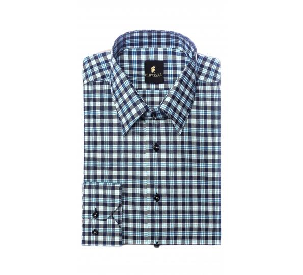Filip Cezar Blue Squares Shirt