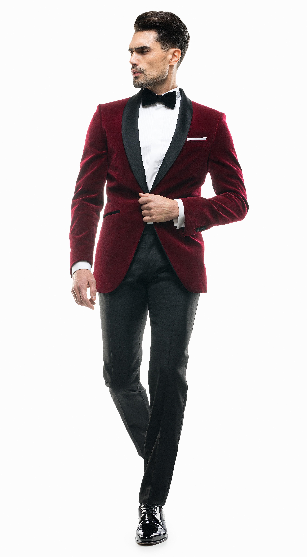 Filip Cezar Red Velvet Suit