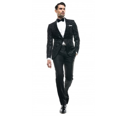 Costum Filip Cezar Dark Grey Paisley