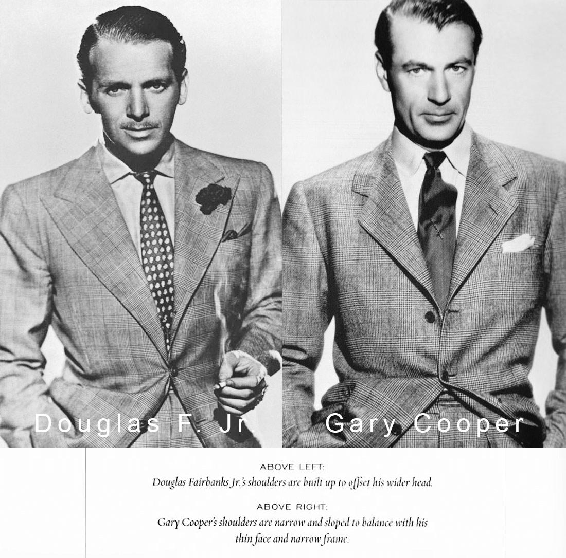Diferentele intre costumul lui Gary Cooper si a lui Douglas Fairbanks Jr.