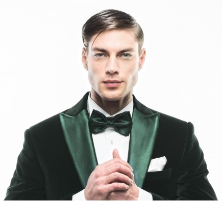 Filip Cezar Green Silk Bow Tie