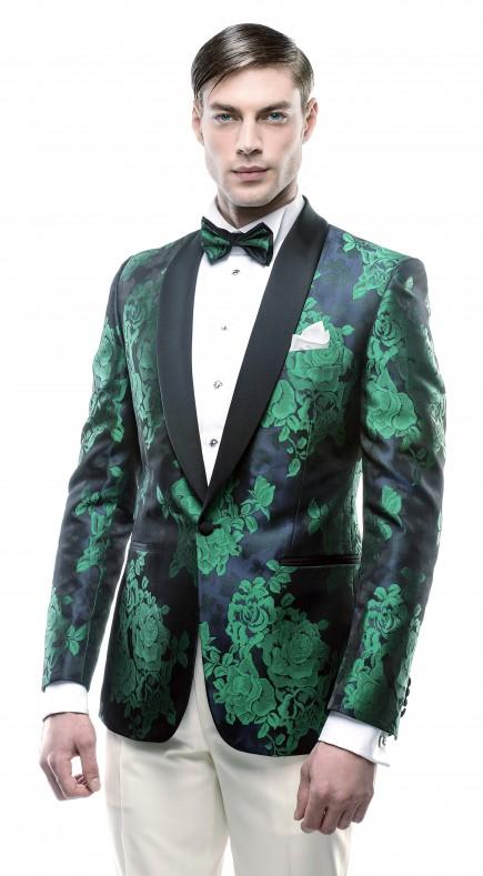 Filip Cezar Green Flowers Jacket