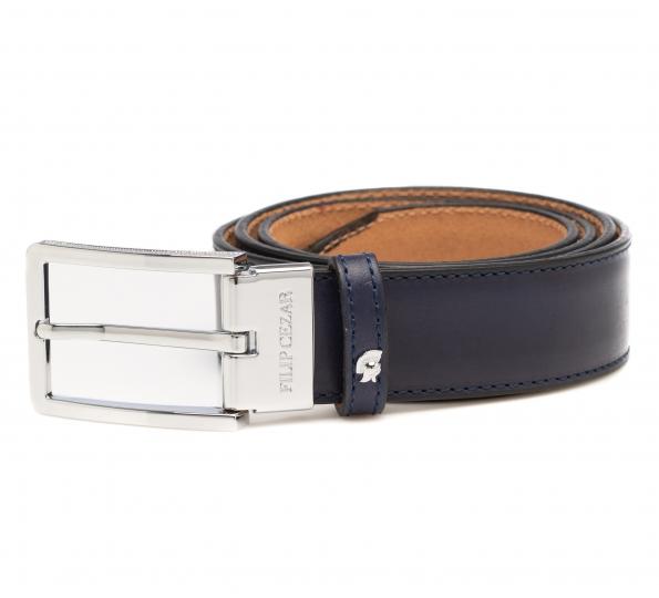 Leather Belt Filip Cezar Navy Blue