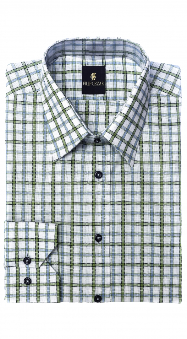 Filip Cezar Green Squares Shirt