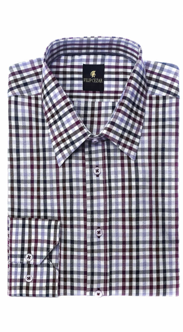 Filip Cezar Brown Squares Shirt