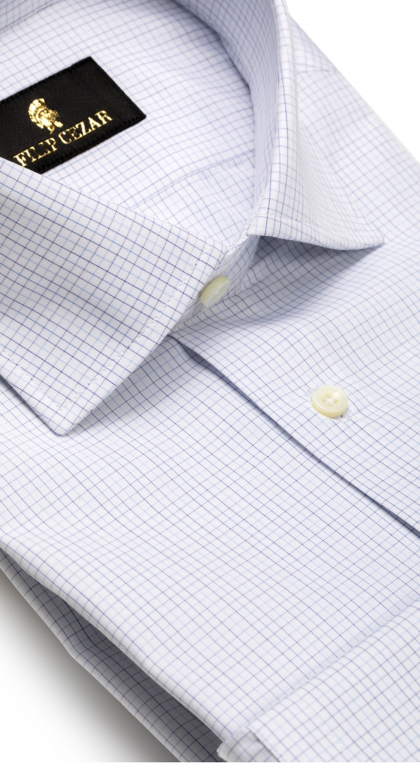 Filip Cezar White & Blue Squares Shirt