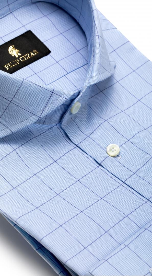 Filip Cezar Blue Checked Shirt