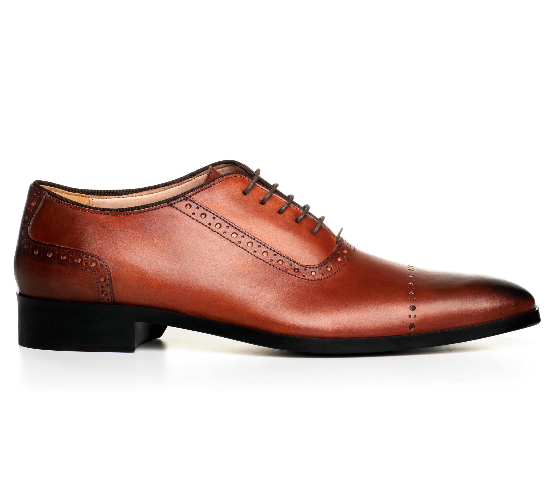 Pantofi realizati la comanda pentru barbati, vopsiti manual, in stil Oxford, marca Filip Cezar.