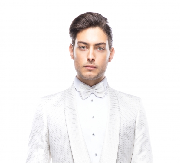 Filip Cezar White Squares Bow Ties