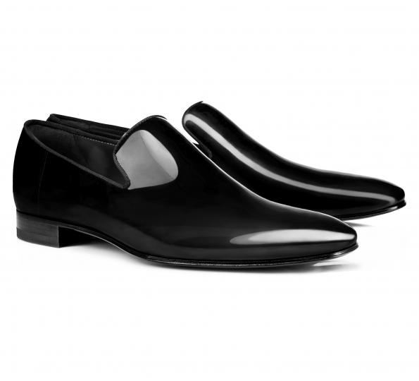 Pantofi Filip Cezar Patent Black Loafers