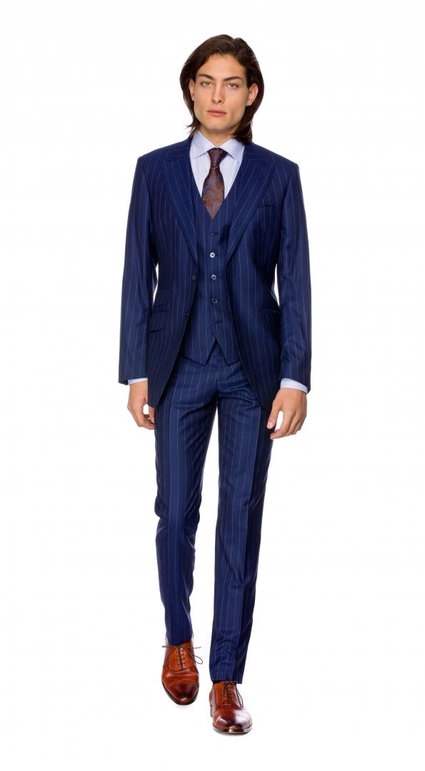 Filip Cezar Navy Blue Stripe Suit
