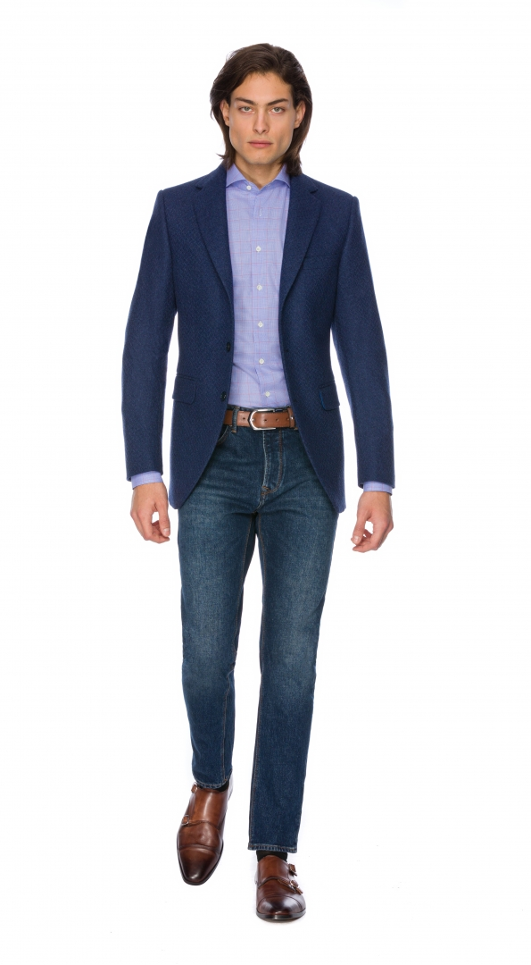 Filip Cezar Herringbone Blue Suit
