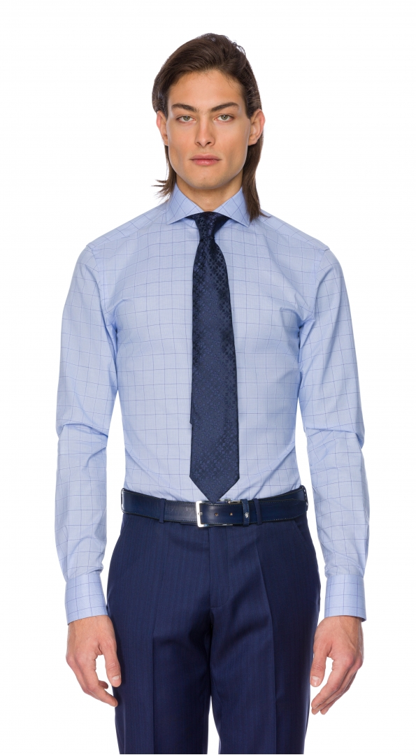 Filip Cezar Blue Checked Shirt