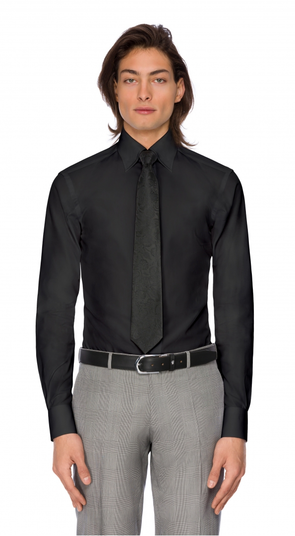 Filip Cezar Solid Black Shirt