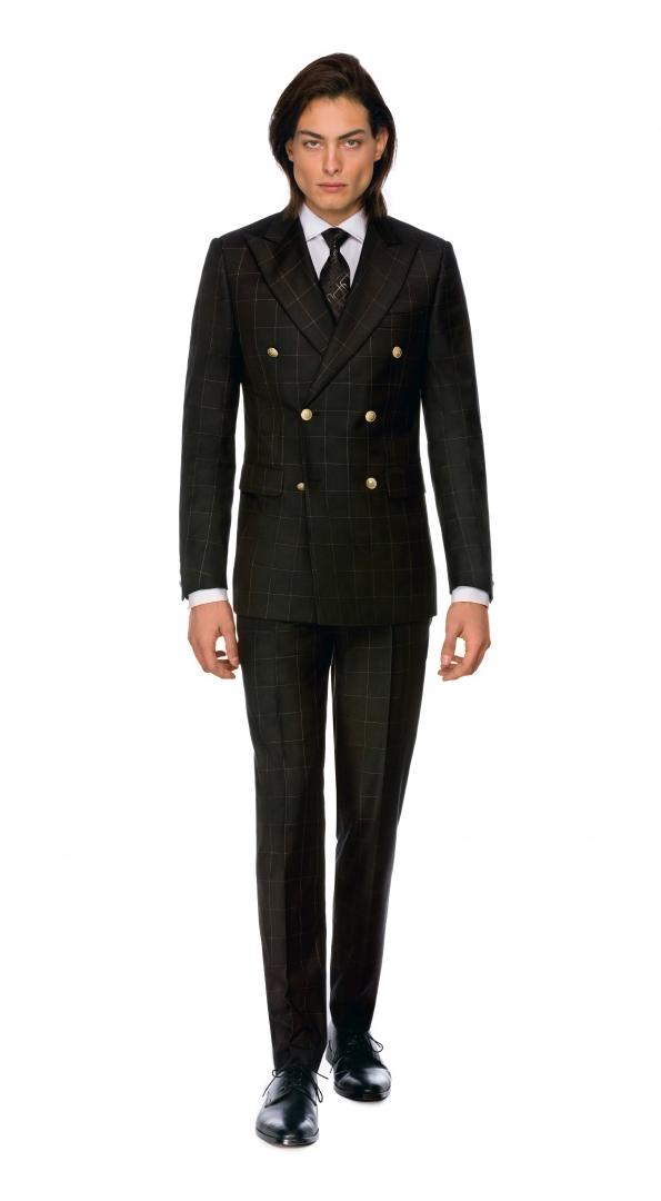 Filip Cezar Black & Gold Check Suit