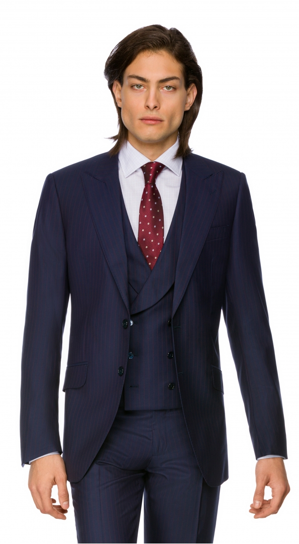 Filip Cezar Dark Blue Stripe Blazer