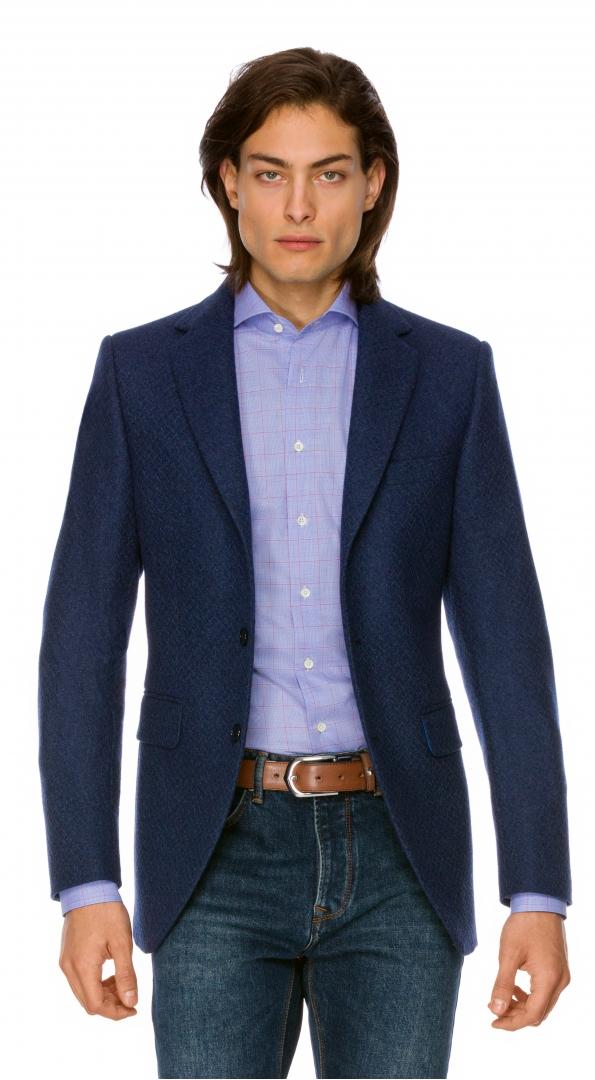 Filip Cezar Herringbone Blue Blazer