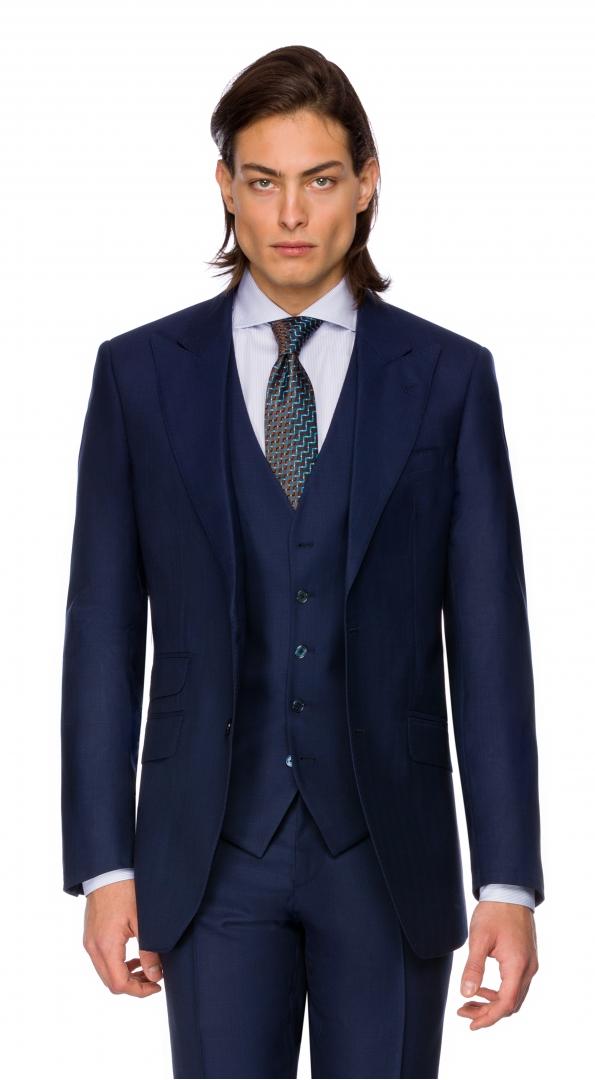 Filip Cezar Navy Blue Check Blazer
