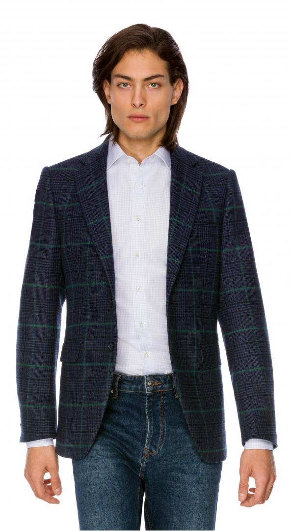 Filip Cezar Green Check Blazer