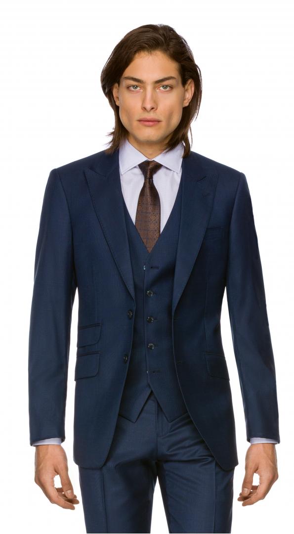 Filip Cezar Cosmic Blue Check Blazer