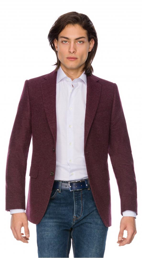Filip Cezar Herringbone Red Blazer