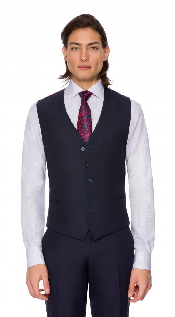 Filip Cezar Dark Blue Check Waistcoat