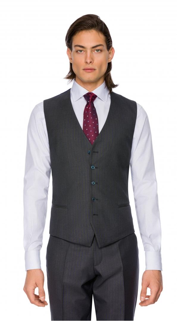 Filip Cezar Grey Stripe Waistcoat