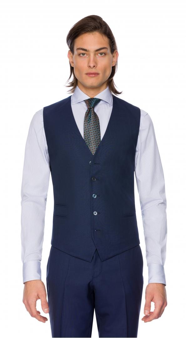 Filip Cezar Navy Blue Check Waistcoat