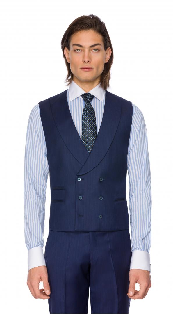 Filip Cezar Blue Stripe Waistcoat