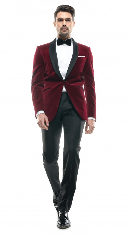Filip Cezar Red Velvet Suit