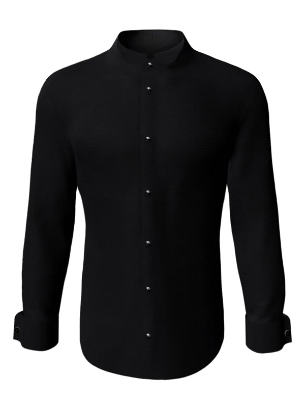 Camasa la comanda neagra uni, configurata 3D, din colectia de camasi la comanda pentru barbati