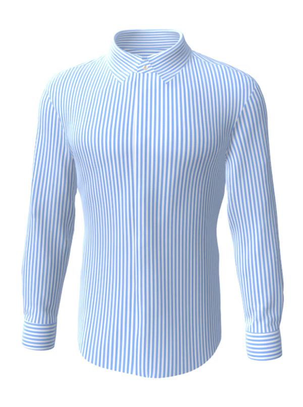 Camasa la comanda, albastra in dungi, configurata 3D, din colectia de camasi la comanda pentru barbati