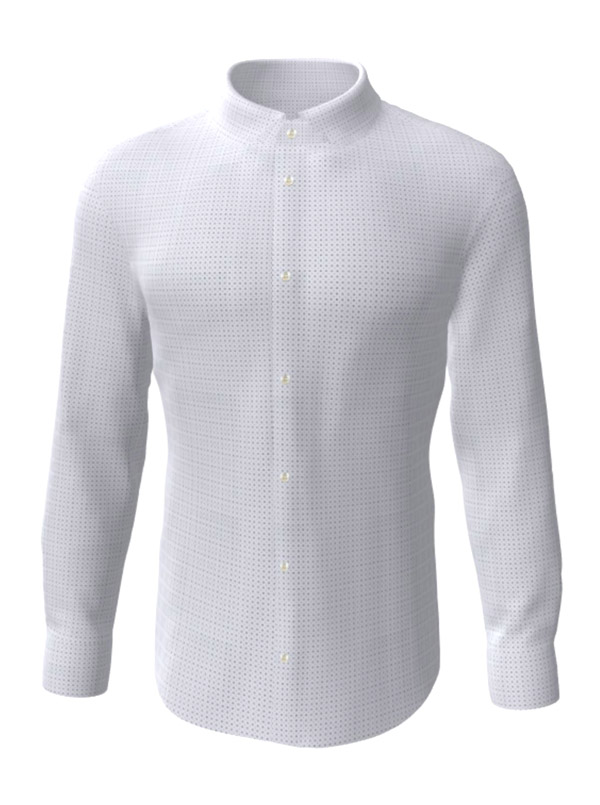 Camasa la comanda, alba in patratele, configurata 3D, din colectia de camasi la comanda pentru barbati