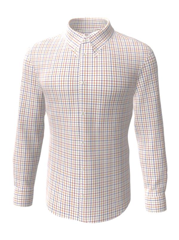 Camasa la comanda, in carouri albastre si orange, configurata 3D, din colectia de camasi la comanda pentru barbati