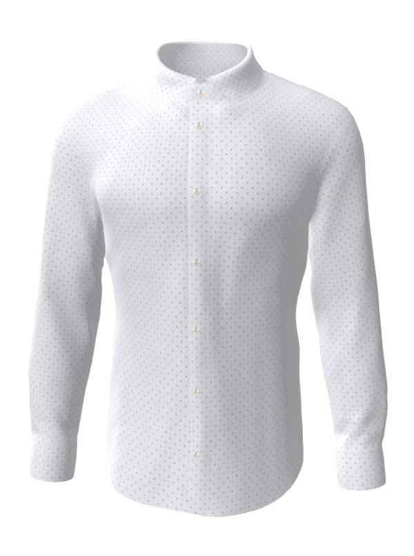 Camasa la comanda, alba in picatele, configurata 3D, din colectia de camasi la comanda pentru barbati.