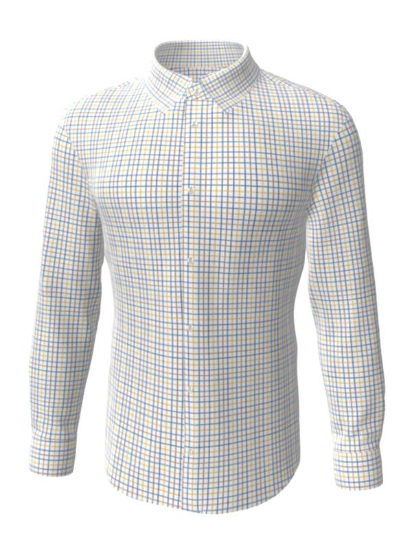 Camasa la comanda, in carouri albastre si galbene, configurata 3D, din colectia de camasi la comanda pentru barbati