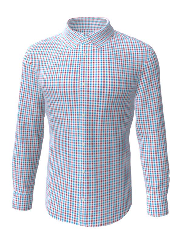 Camasa la comanda, in carouri rusu-albastru, configurata 3D, din colectia de camasi la comanda pentru barbati