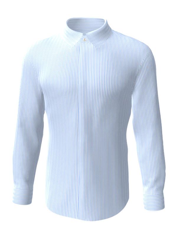 Camasa la comanda, alba in dungi albastre, configurata 3D, din colectia de camasi la comanda pentru barbati.