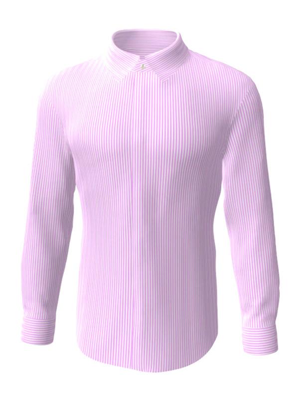 Camasa la comanda, alba in dungi roz, configurata 3D, din colectia de camasi la comanda pentru barbati