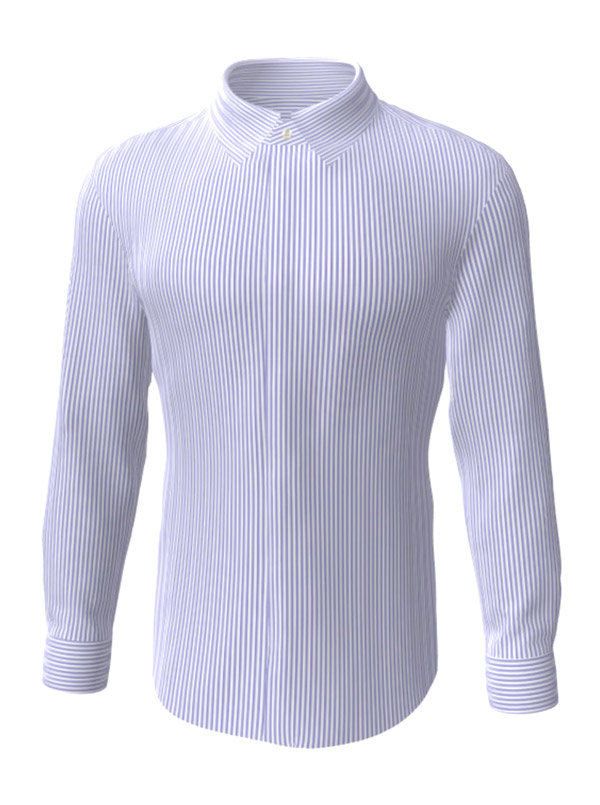Camasa la comanda, alba in dungi violet, configurata 3D, din colectia de camasi la comanda pentru barbati
