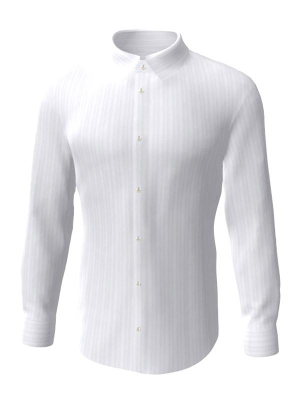 Camasa la comanda, alba in dungi albe, configurata 3D, din colectia de camasi la comanda pentru barbati.