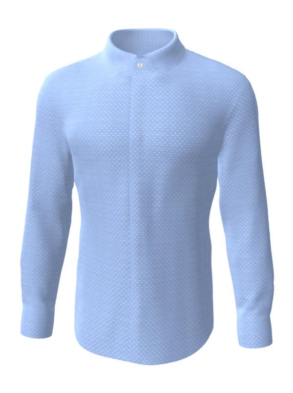 Camasa la comanda, albastra in picatele albe, configurata 3D, din colectia de camasi la comanda pentru barbati