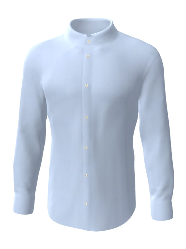 Camasa la comanda, de culoare albastru uni, configurata 3D, din colectia de camasi la comanda pentru barbati
