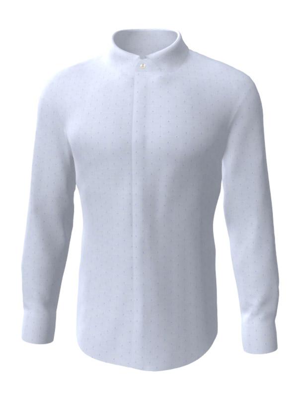 Camasa la comanda, albastra in picatele, configurata 3D, din colectia de camasi la comanda pentru barbati.