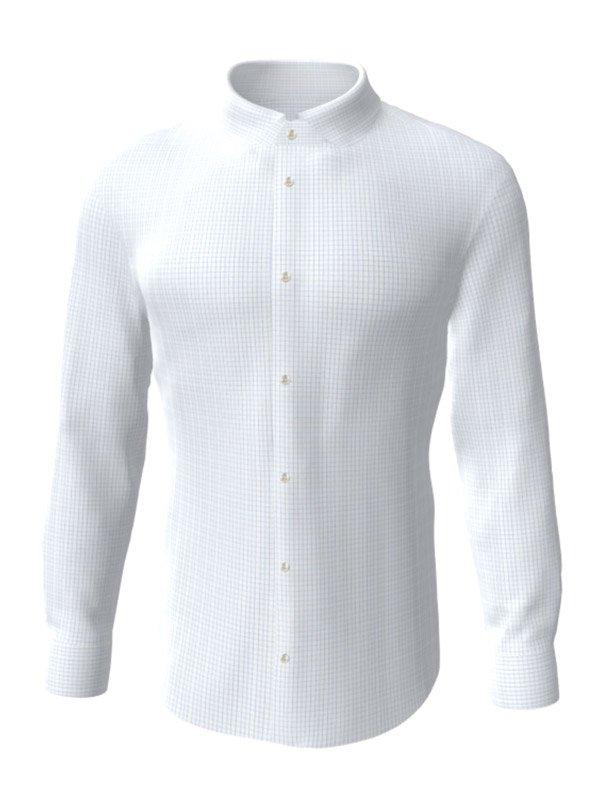 Camasa la comanda, alba in patratele bleu, configurata 3D, din colectia de camasi la comanda pentru barbati