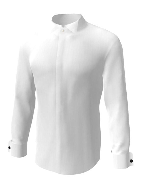 Camasa la comanda, alba cu butoni, configurata 3D, din colectia de camasi la comanda pentru barbati